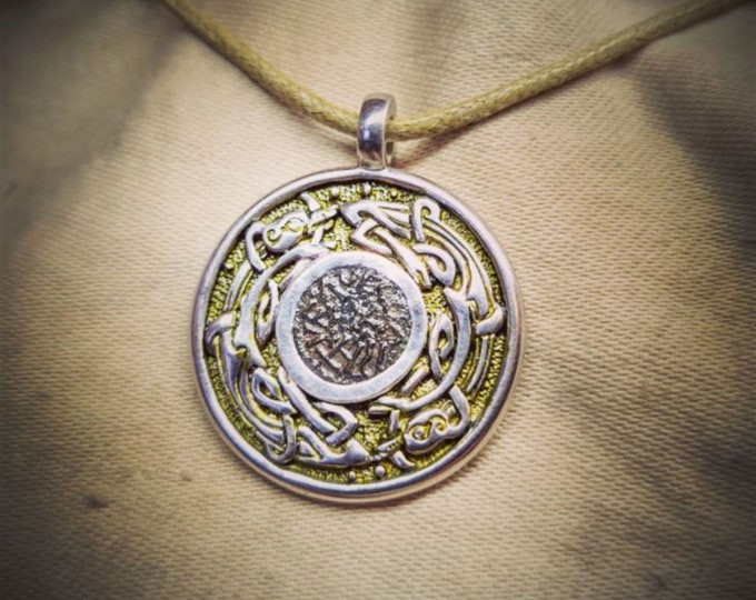 Anglo-Saxon necklace, sterling silver talisman, genuine ancient coin from the Viking wars.