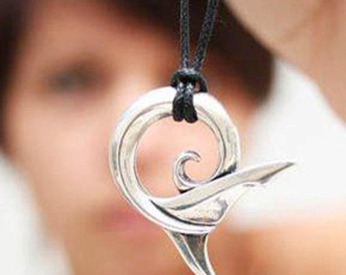 Shark necklace, silver shark tail pendant, shark jewelry, koru design