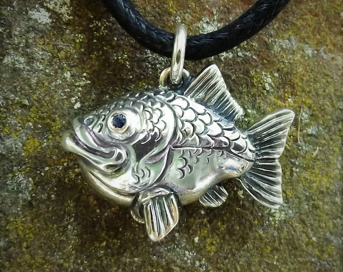 Fishing necklace, happy fish necklace, sterling silver and sapphire, fish pendant, fishing gift