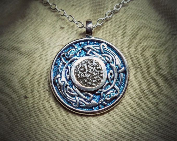 Anglo-Saxon necklace, blue and silver talisman, genuine ancient coin from the Viking wars.