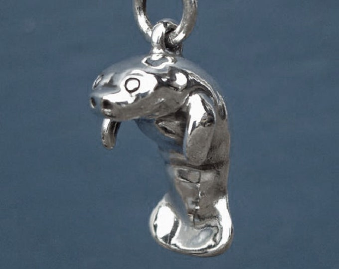 Manatee necklace, solid sterling silver pendant, manatee charm, sea life jewelry, animal totem