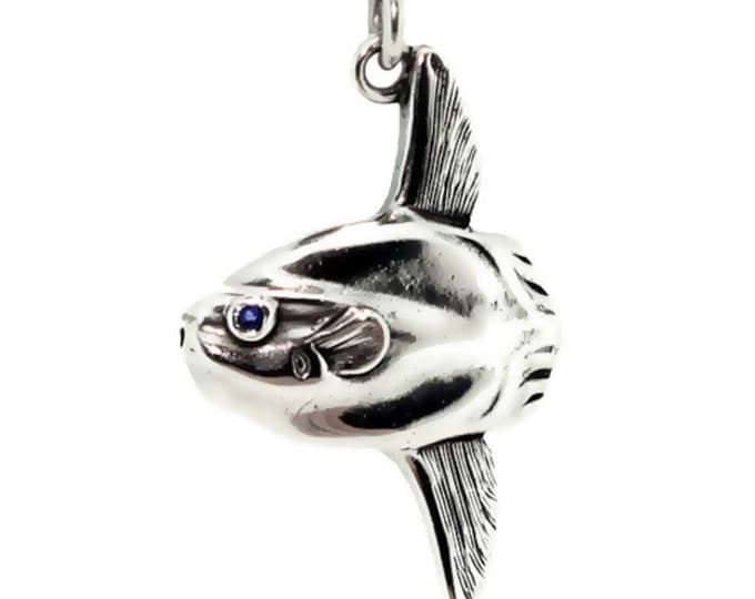 Mola Mola, sun fish necklace, gold and sapphire jewelry, ocean sunfish pendant, gold moonfish necklace, diving gift