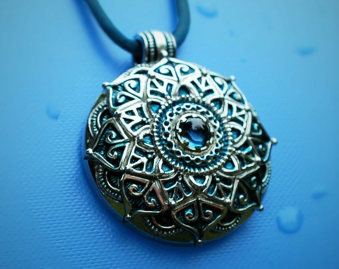Mandala necklace, sterling silver and blue topaz mandala pendant with a blue patina, meditation, yoga or mindfulness amulet