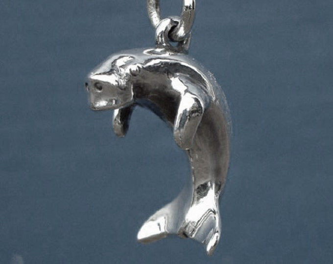 Dugong necklace, silver dugong pendant, solid silver 3D charm, wildlife jewelry.
