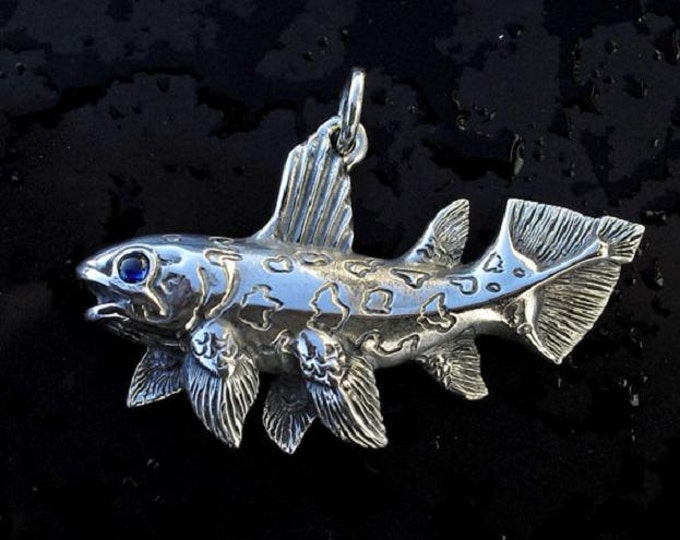 Coelacanth necklace, prehistoric biology pendant, sterling silver dinosaur age fish, set with natural blue sapphire, science jewelry