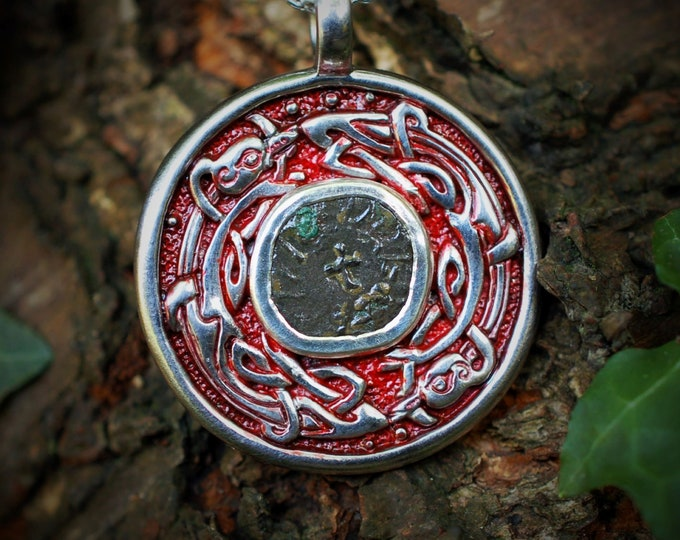 Anglo-Saxon coin necklace, Sterling silver talisman with a genuine, historically important coin from the era of the Saxon-Viking conflict.