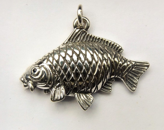 Carp fishing pendant, sterling silver and sapphire, common carp, silver fish charm, fishing necklace, fishermans angling gift.