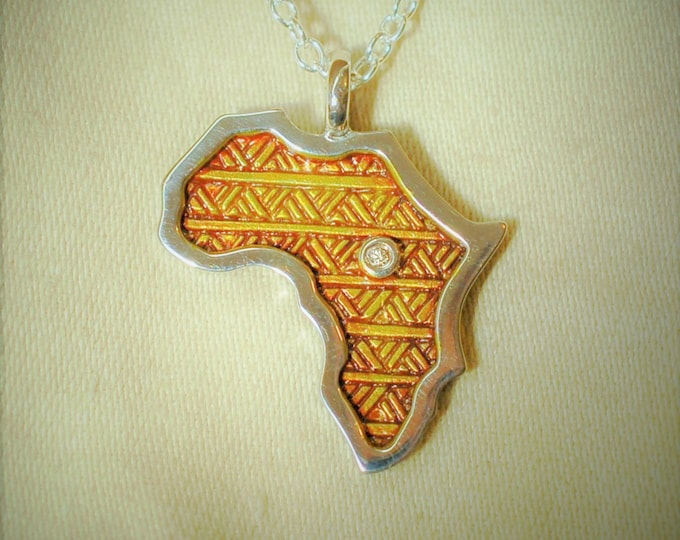 Africa necklace, Africa pendant, natural diamond, solid sterling silver jewelry, rhodium coated with a golden brown patina.