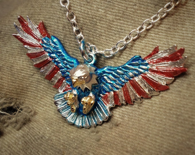 Eagle necklace, red white and blue, solid sterling silver pendant, double sided, gold and rhodium plated jewelry design, strong silver chain