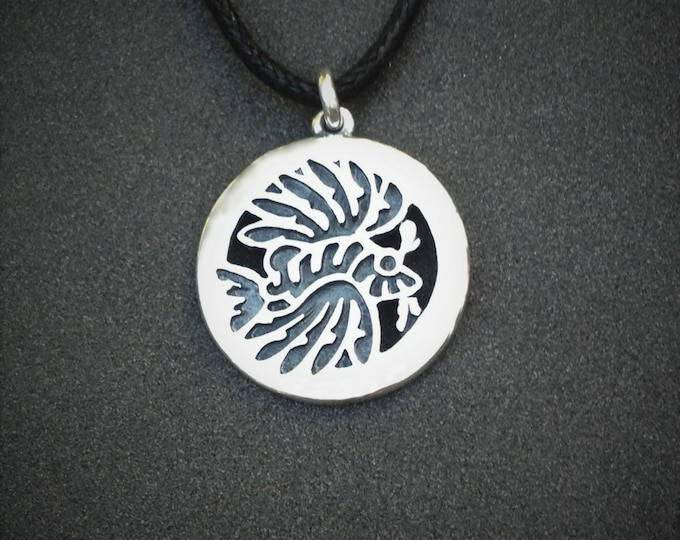 Lionfish necklace, tattoo jewelry, heavy sterling silver pendant, bold, black, lionfish silhouette design.