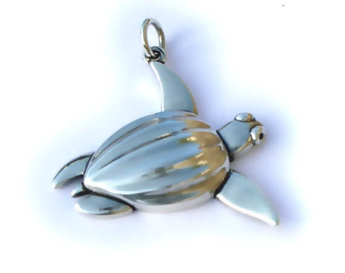 Sea turtle necklace, sterling silver and sapphire, leatherback turtle charm pendant, wildlife necklace.