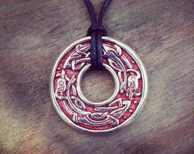 Dogs necklace, sterling silver, Viking jewelry, running dogs design, red and silver, Norse talisman pendant, Celtic zoomorphic design.