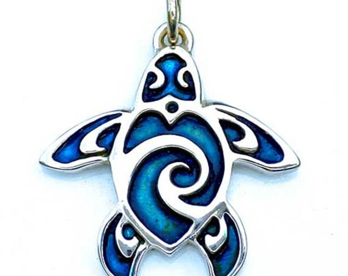 Sea turtle necklace, sterling silver pendant, turtle tattoo design, sea turtle jewelry, charm necklace with blue patina