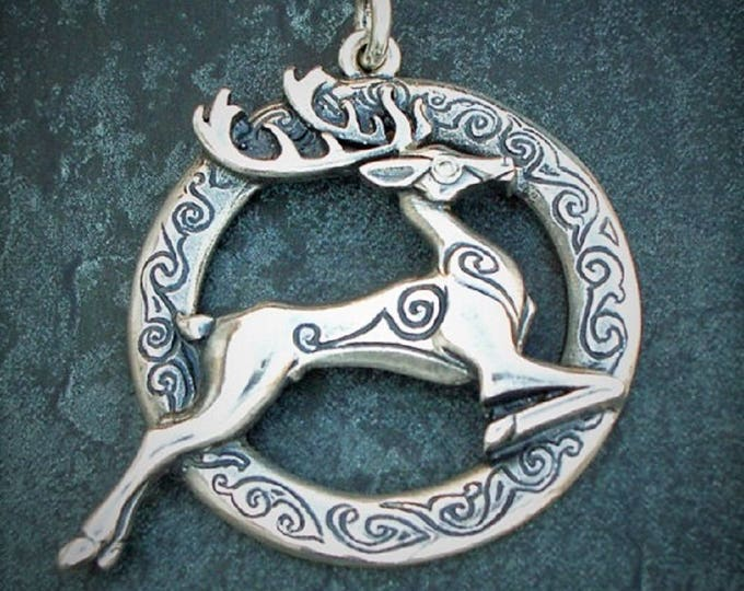 Deer necklace, sterling silver and diamond jewelry, Celtic design, stag pendant, natural diamond, antique jewelry finish,