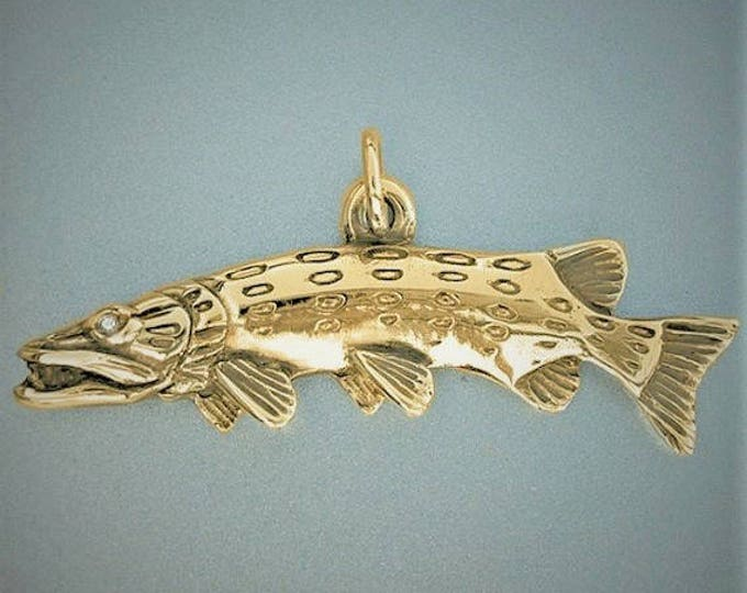 Fishing necklace, gold pike necklace, gold and diamond, fishing pendant, hand made to order,