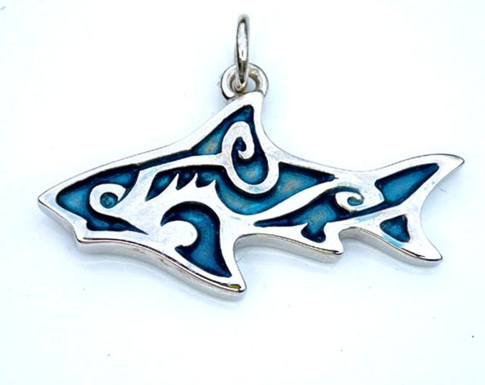 Shark necklace, sterling silver pendant, shark tattoo design, blue shark jewelry, charm necklace with blue patina