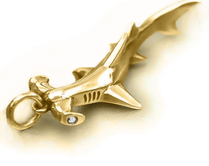 Hammerhead shark necklace, gold and diamond shark jewelry, hammerhead shark charm pendant, hand made to order,