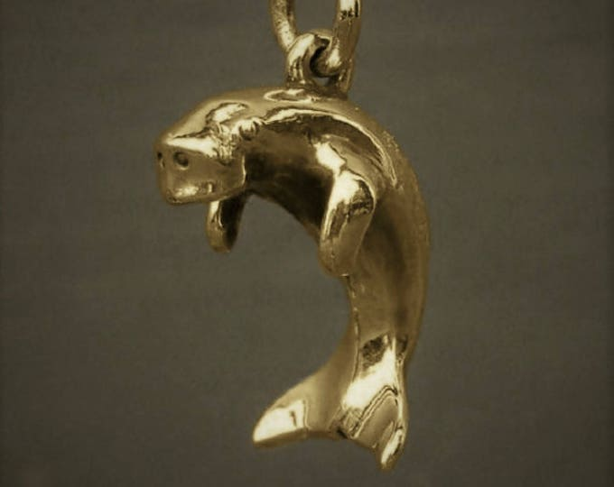 Dugong necklace, solid gold dugong charm, solid gold sea life jewelry, wildlife necklace.