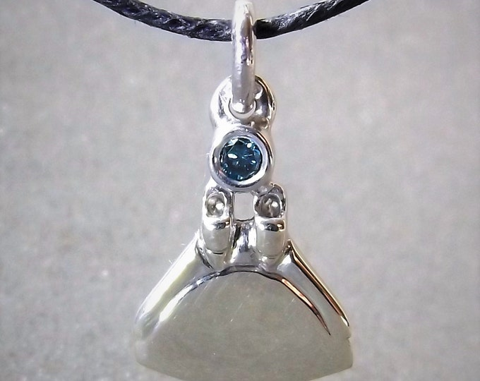 Monofin necklace,freediving charm, white gold and blue diamond, freediving pendant.