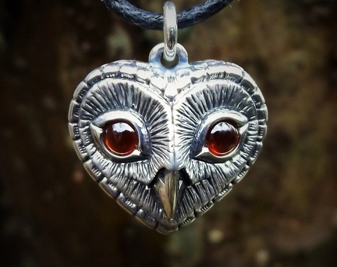 Owl necklace, silver and garnet, heart shaped pendant, owls head jewelry,