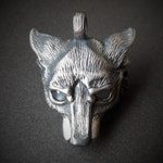 Wolf Necklace, silver and moonstone wolf pendant.