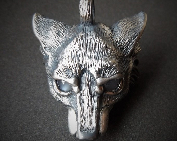 Wolf Necklace, sterling silver wolf jewelry, moonstone eyes, wolfs head pendant, silver chain.