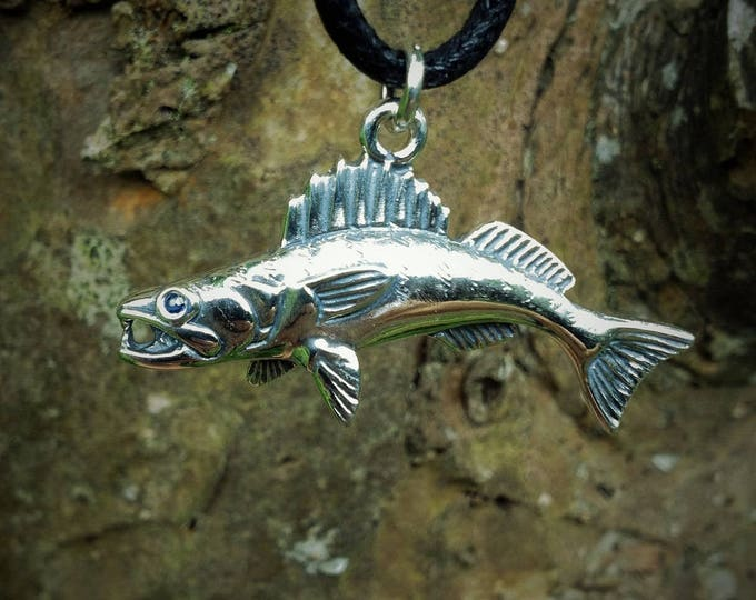 Zander necklace, walleye necklace, fishing necklace, silver and sapphire jewelry, fish necklace, fishing pendant, fishermans gift,
