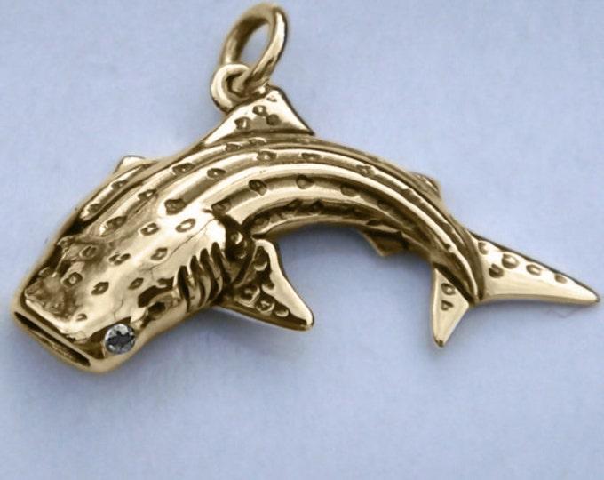 Whale shark necklace, gold and diamond shark, gold whale shark pendant with a diamond eye, handmade to order,