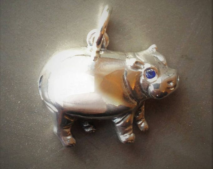 Hippo necklace, silver and sapphire jewelry, silver hippopotamus charm pendant, natural blue sapphire, antique jewelry finish,