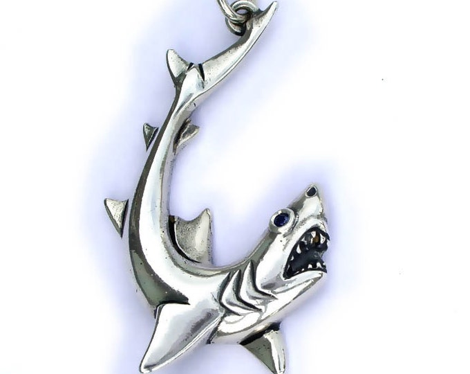 Shark necklace, white shark pendant, silver and sapphire, shark jewelry, classic sea life jewelry.