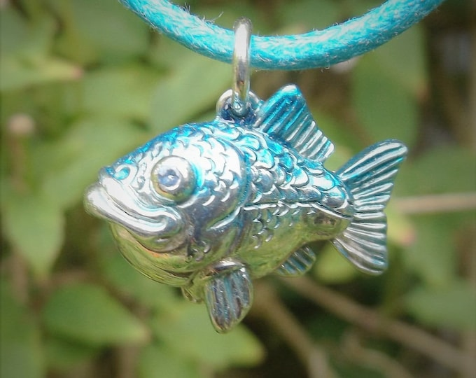 Fishing necklace, happy blue fish, silver and sapphire jewelry, fishing pendant