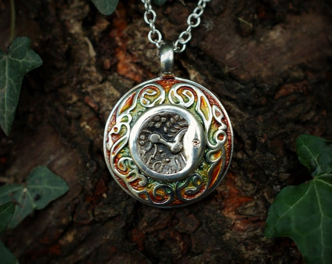 Ancient coin, talisman necklace, sterling silver and diamond, amulet pendant, rare 2000 year old Celtic coin from Iron-Age Britain.