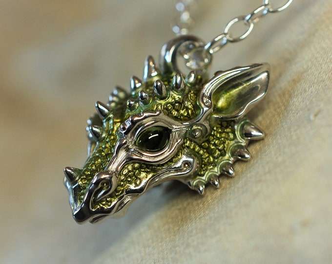 Green dragon necklace, silver dragon pendant, natural peridot jewelry, solid silver chain.