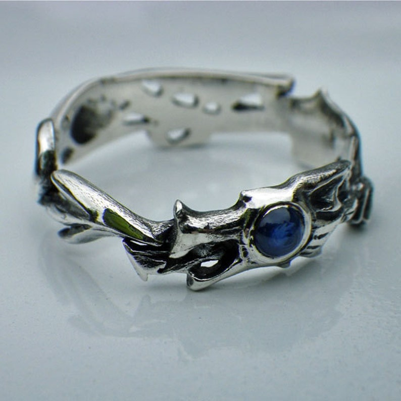 Dragon Ring sterling silver and sapphire dragon ring image 0