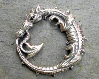 Dragon necklace, silver and sapphire, dragon pendant, ouroboros design, dragon jewelry, dragon amulet talisman. © Argent Aqua