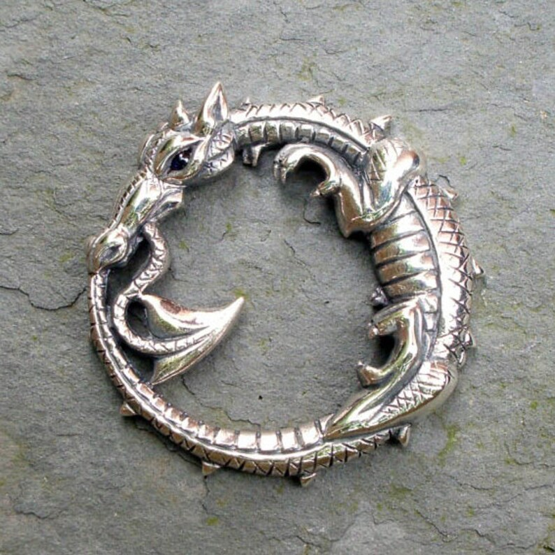 Round dragon silver dragon necklace mythical medieval dragon image 0