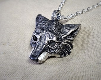 Small silver wolf Necklace, wolf head pendant, sterling silver and natural grey moonstone eyes, solid silver chain. © Argent Aqua