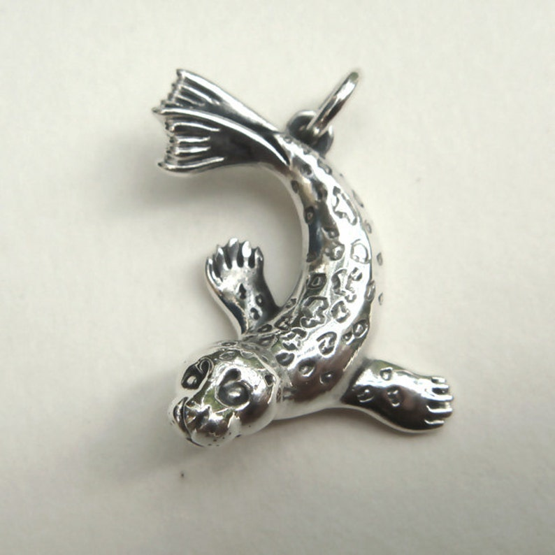 Seal necklace sterling silver seal charm pendant animal image 0