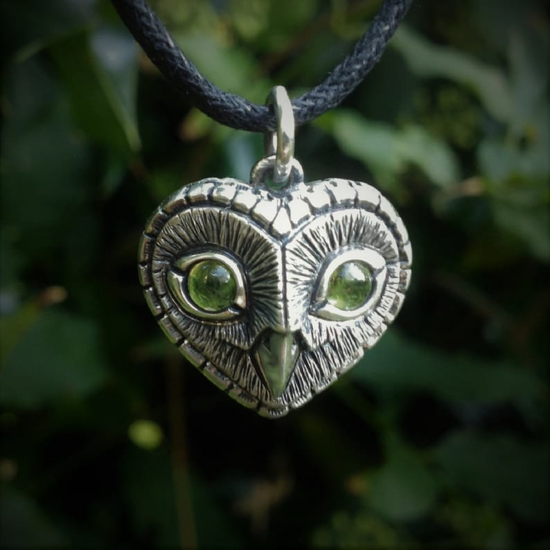 Peridot owl necklace sterling silver heart shaped owl head image 0