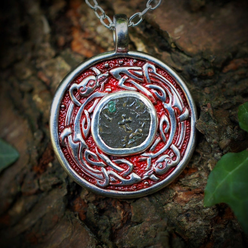 Anglo-Saxon coin necklace Sterling silver talisman with a image 0