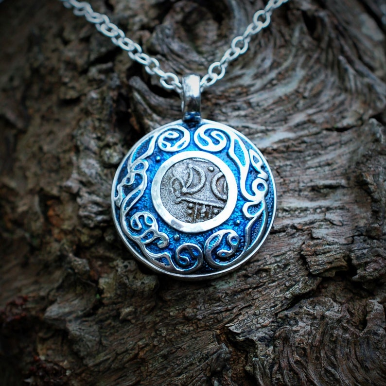 Moon talisman necklace. Silver pendant with a genuine 2000 image 0