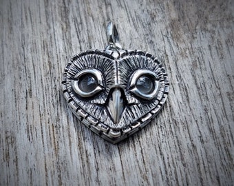 Grey moonstone owl necklace, Birthstone for June, sterling silver heart shaped owl head pendant with grey moonstone eyes. © Argent Aqua