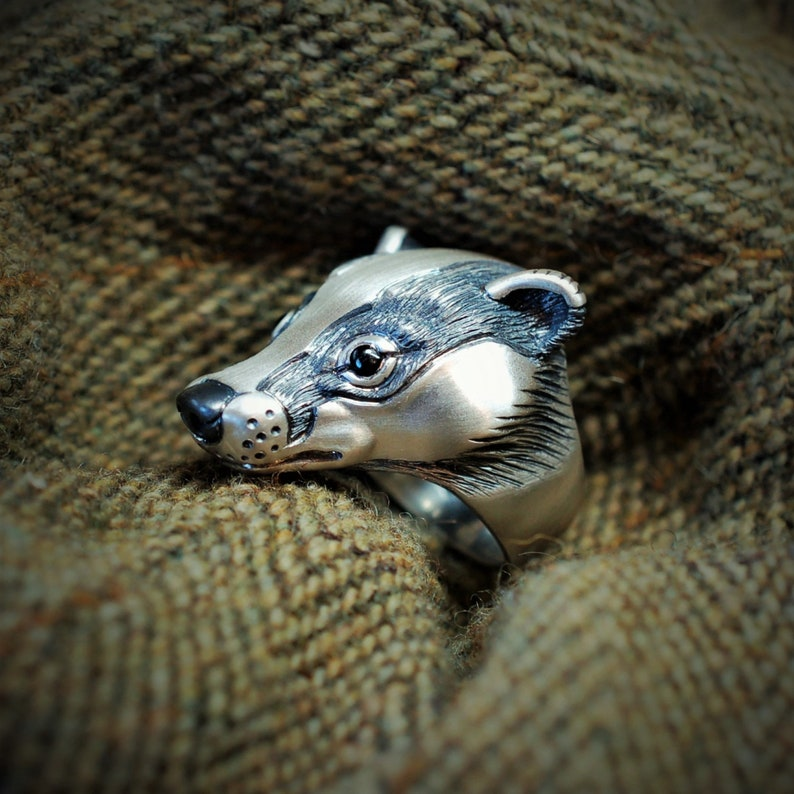 Badger ring sterling silver badger head ring with natural image 0