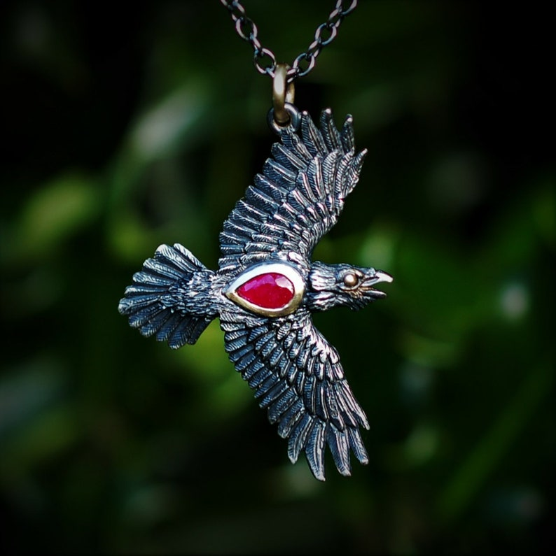 Ruby Raven necklace Solid silver & gold raven with black image 0