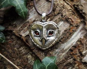 Barn Owl necklace , Sterling Silver and garnet barn owl pendant.
