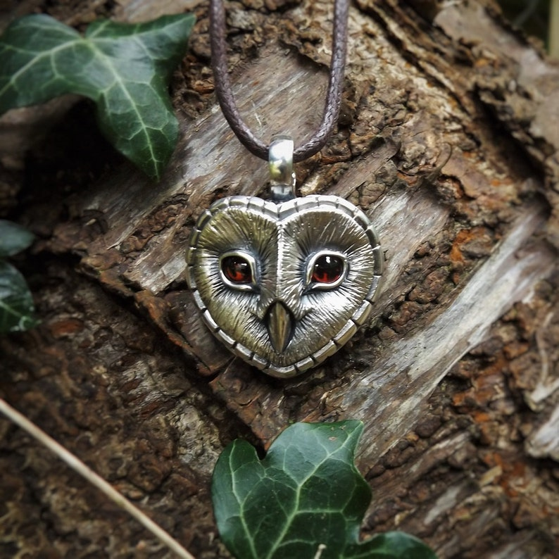 Barn Owl necklace Sterling Silver and garnet barn owl image 0