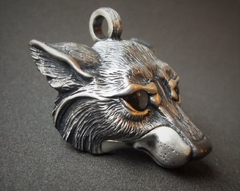 Silver wolf necklace, wolf head pendant, solid silver chain, smoky quartz eyes. Hand made to order. © Argent Aqua