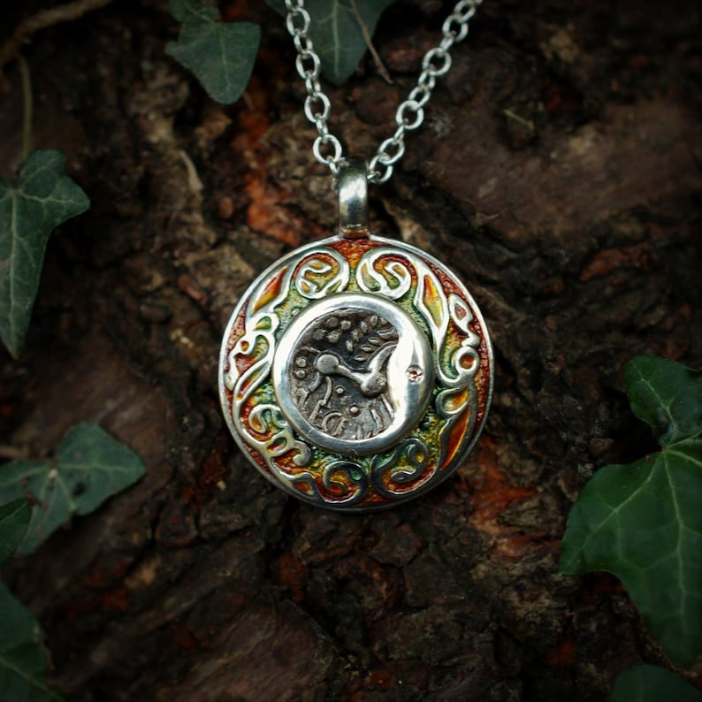 Ancient silver coin talisman necklace. Sterling silver & image 0