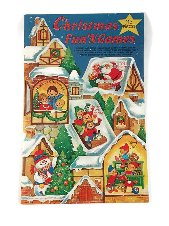 Vintage Complete 115 Piece Christmas Fun N Games Activity Etsy