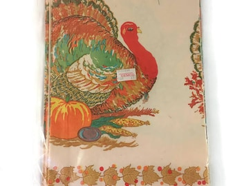 """Vintage Sealed Gemco Paper Thanksgiving Table Cover Turkey Cornucopia with Pumpkin, Corn, Fall Leaves, CA Reed Co. 52"""" x 96"""", Burnt Orange"""
